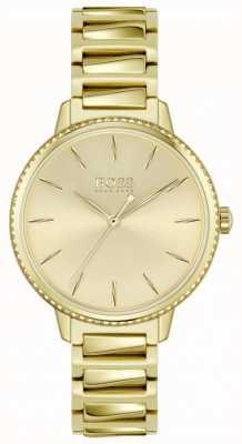 BOSS | Unterschrift der Frauen | Armband aus vergoldetem Stahl | goldenes Zifferblatt 1502541