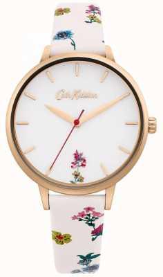 Cath Kidston | cremefarbenes Blumenlederarmband für Damen | weißes Zifferblatt CKL100WRG