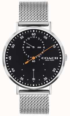 Coach | Herren Charles | Stahlgitterarmband | schwarzes Zifferblatt 14602477