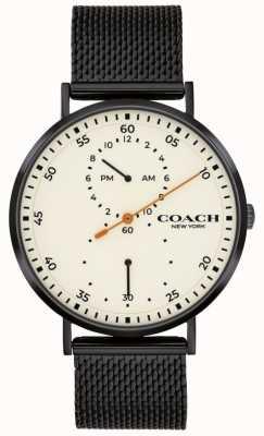 Coach | Herren Charles | schwarzes Netzarmband | weißes Zifferblatt 14602480