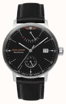 Iron Annie Bauhaus | automatisch | schwarzes Lederarmband | schwarzes Zifferblatt 5060-2