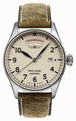 Iron Annie Flugsteuerung automatisch | braunes Lederband | beige Zifferblatt 5164-3