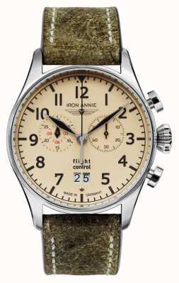Iron Annie Flugsteuerungsquarz | olivgrünes Armband | beige Zifferblatt 5186-5