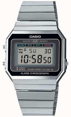 Casio Vintage | Silberarmband | digitales Zifferblatt | A700WE-1AEF