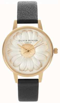 Olivia Burton 3d daisy | schwarzes Lederarmband für Damen | Gänseblümchen wählen OB15EG38