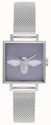 Olivia Burton 3d Biene | Damen Silber Mesh Armband | silbernes Bienenzifferblatt OB16AM136