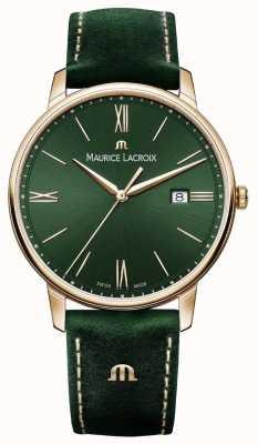 Maurice Lacroix Elrios rauchte grünes Lederband vergoldet Fall EL1118-PVP01-610-1