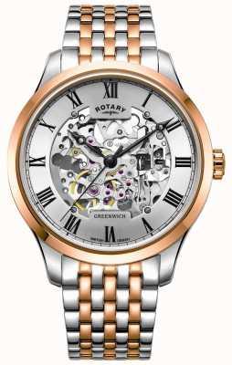Rotary Greenwich Automatik | zweifarbiges Armband | Skelettzifferblatt GB02944/06