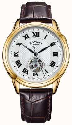 Rotary Cambridge automatisch | braunes Lederband | silbernes Zifferblatt GS05368/70