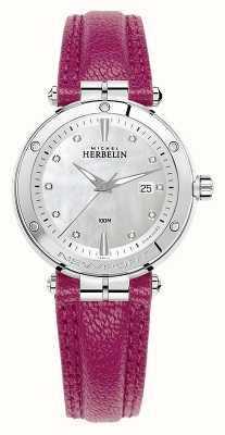 Michel Herbelin Newport Diamant Set Zifferblatt fuschia Lederband 14288/AP89FU