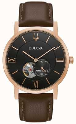 Bulova Amerikanischer Clipper | automatisch | schwarzes Zifferblatt | braunes Leder 97A155