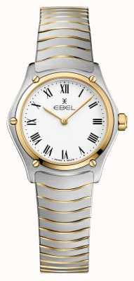 EBEL Damen Sport Klassiker 24mm weißes Zifferblatt zweifarbiges Armband Edelstahl 1216384A