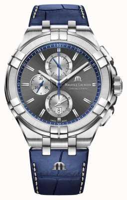 Maurice Lacroix Herren Aikon | blaues Lederband | graues Zifferblatt AI1018-SS001-333-1