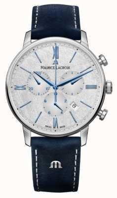 Maurice Lacroix Eliros Chronograph | blaues Lederband | silbernes Zifferblatt EL1098-SS001-114-1