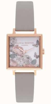 Olivia Burton Unterschriftenzifferblätter | graues Lederband | Blumenzifferblatt OB16WG41