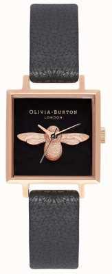Olivia Burton 3d Biene | schwarzes Lederband | schwarzes quadratisches Bienenzifferblatt OB16AM128