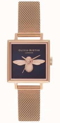 Olivia Burton 3d Biene | roségoldes Netzarmband | quadratisches Bienenzifferblatt OB16AM96