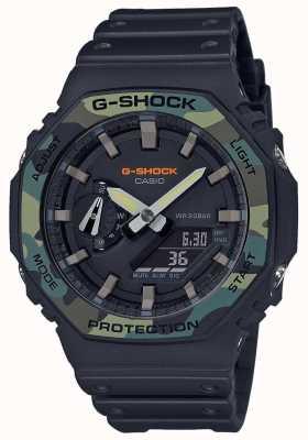 Casio G-Schock | geschichtete Lünette | schwarzes Kautschukband | Carbongehäuse GA-2100SU-1AER