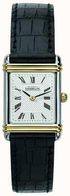 Michel Herbelin Frauen Art Deco | schwarzes Lederband | silbernes Zifferblatt 17478/T08
