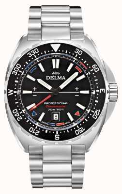 Delma Oceanmaster Quarz | Edelstahlarmband | schwarzes Zifferblatt 41701.676.6.038