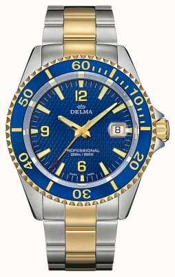 Delma Santiago Quarz | zweifarbiges Stahlarmband | blaue Lünette 52701.562.6.044