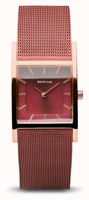 Bering Frauenklassiker | poliertes Roségold | rotes Netzarmband 10426-363-S