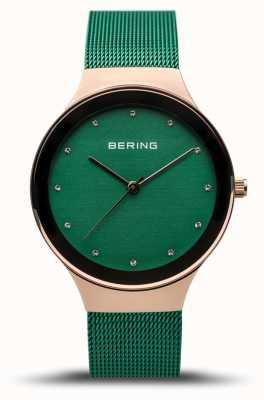 Bering Frauenklassiker | poliertes Roségold | grünes Netzband | 12934-868