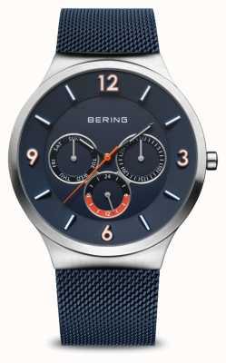 Bering Herrenklassiker | gebürstetes Silber | blaues Netzband | blaues Zifferblatt 33441-307