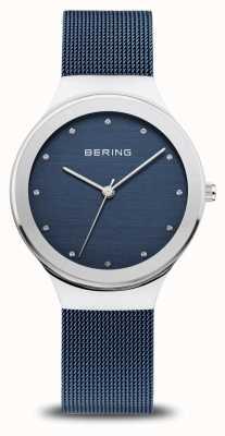Bering Frauenklassiker | poliertes Silber | blaues Netzband 12934-307