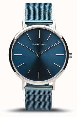 Bering Frauenklassiker | poliertes Silber | blaues Netzarmband 14134-308