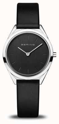 Bering Frauen ultraschlank | poliertes Silber | schwarzes Lederband 17031-402
