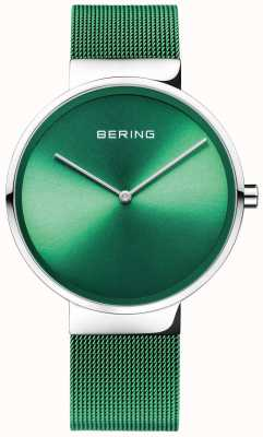 Bering Klassiker | grünes Netzband | grünes Zifferblatt 14539-808