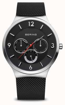 Bering Herrenklassiker | gebürstetes Silber | schwarzes Netzarmband 33441-102