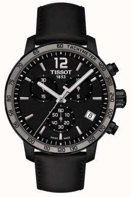 Tissot Quickster Chronograph Quarz schwarz Leder schwarz Zifferblatt T0954173605702