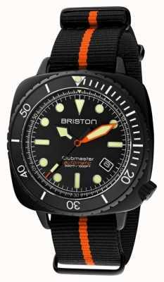 Briston Clubmaster Taucher Pro | schwarz / orange nato strap | schwarzes Zifferblatt 20644.PBAM.B.35.NBO