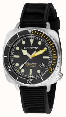 Briston Clubmaster Taucher Pro Stahl | schwarzes Kautschukband | schwarzes Zifferblatt 20644.S.DP.34.RB