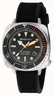 Briston Clubmaster Taucher Pro Stahl | schwarzes Kautschukband | schwarzes Zifferblatt 20644.S.DP.35.RB