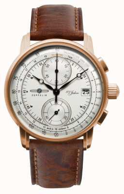 Zeppelin Herren Chronograph | 100 Jahre | braunes Lederband 8672-1