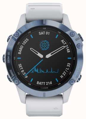 Garmin Fenix 6 pro solar | Titan Mineral Blau Weiß Kautschukband 010-02410-19