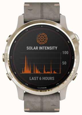 Garmin Fenix 6s pro solar | hellgold schiefergraues Wildlederarmband 010-02409-26
