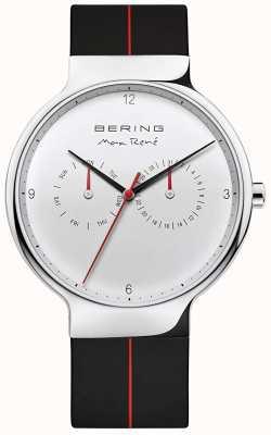 Bering Max rené | schwarzes Kautschukband | silbernes Zifferblatt 15542-404