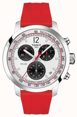 Tissot Prc 200 | Chronograph | silbernes Zifferblatt | rotes Kautschukband T1144171703702