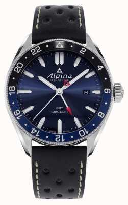 Alpina Alpiner Quarz gmt | blaues Zifferblatt | schwarzes Lederband AL-247NB4E6