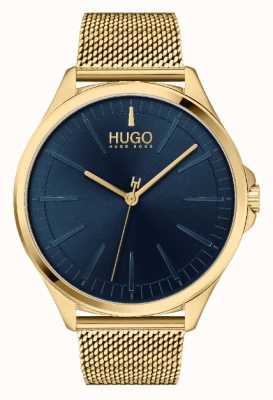 HUGO Herren #smash casual | blaues Zifferblatt | Gold IP Mesh Armband 1530178