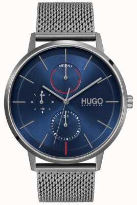 HUGO #existierendes Geschäft | blaues Zifferblatt | graues IP-Netzband 1530171