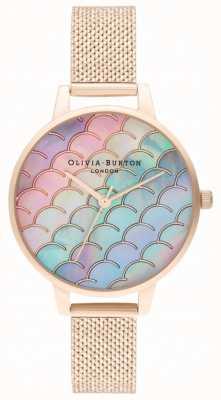 Olivia Burton Meerjungfrau Schwanz Demi Zifferblatt Roségold Boucle Mesh Uhr OB16US45