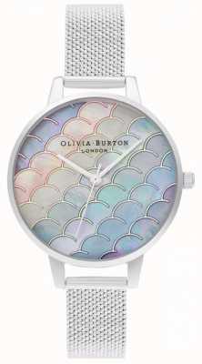 Olivia Burton Meerjungfrau Schwanz Demi Zifferblatt Silber Boucle Mesh Uhr OB16US46