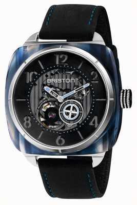Briston Stromlinienförmiges Skelettauto | blaues Acetat | schwarzes Leder 201042.SA.BL.1.CH