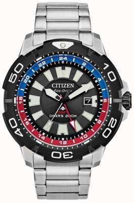 Citizen Herren Promaster Taucher gmt | schwarzes Zifferblatt aus Edelstahl | blauer & roter Akzent BJ7128-59E