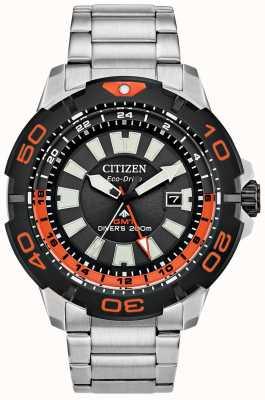 Citizen Herren Promaster Taucher gmt | Edelstahl | schwarzes Zifferblatt | orange Akzent BJ7129-56E